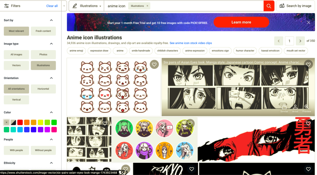 how to search for anime icons